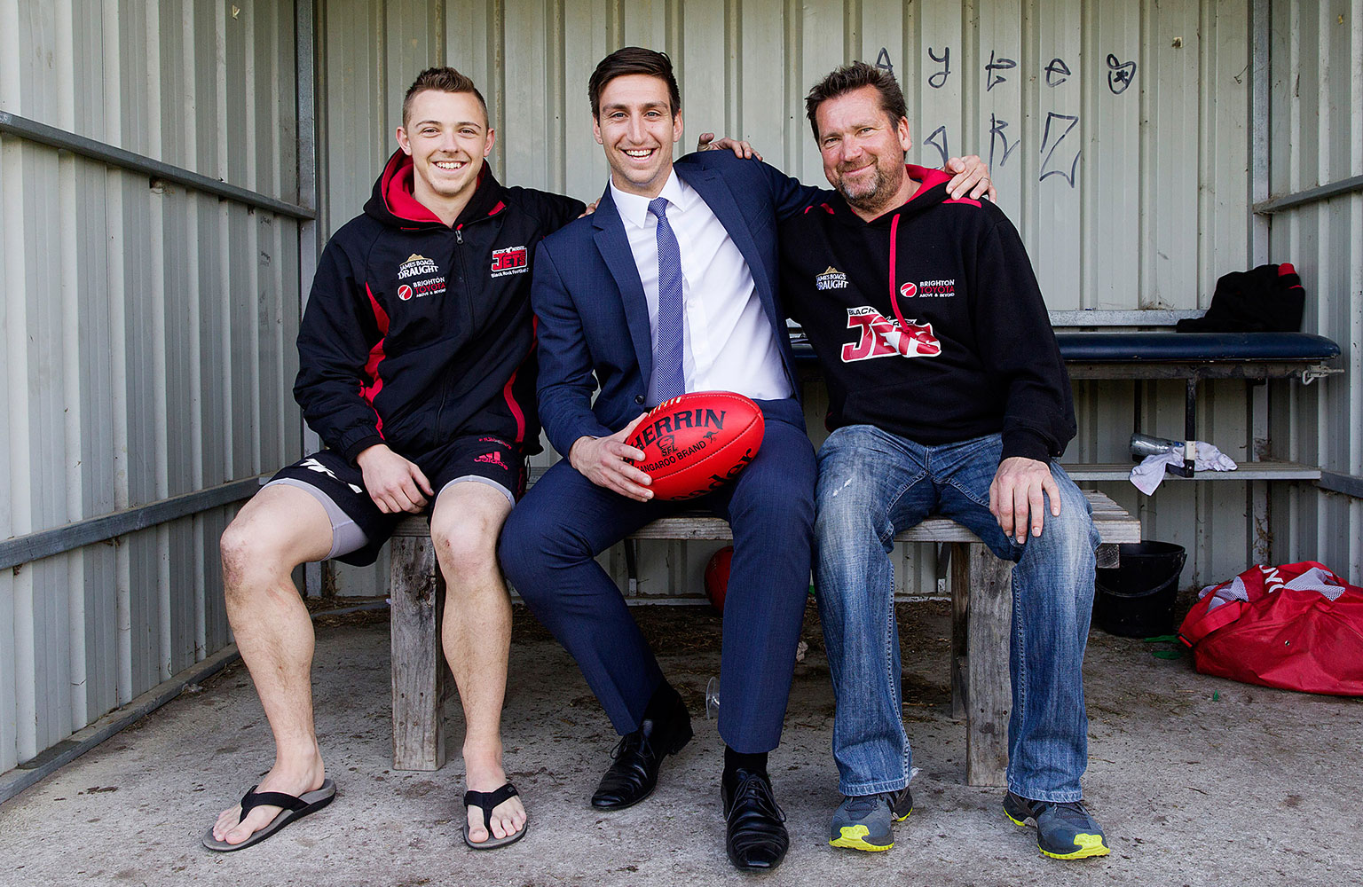 CEO of Southern Football League, David Cannizzo, with Blackrock Jets player and fan