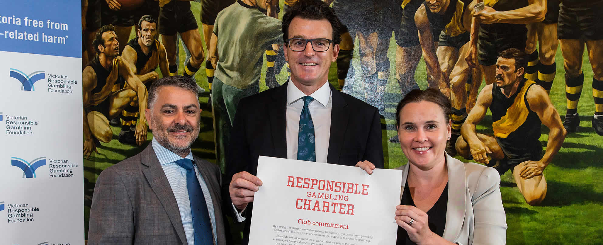 (L to R) Victorian Responsible Gambling Foundation chief executive Serge Sardo, Richmond Football Club chief executive Brendon Gale and Minister for Gaming and Liquor Regulation Jane Garrett
