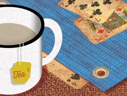 An illustration of an outside setting with earth partially covered by a tarpaulin, playing cards scattered and a cup of tea