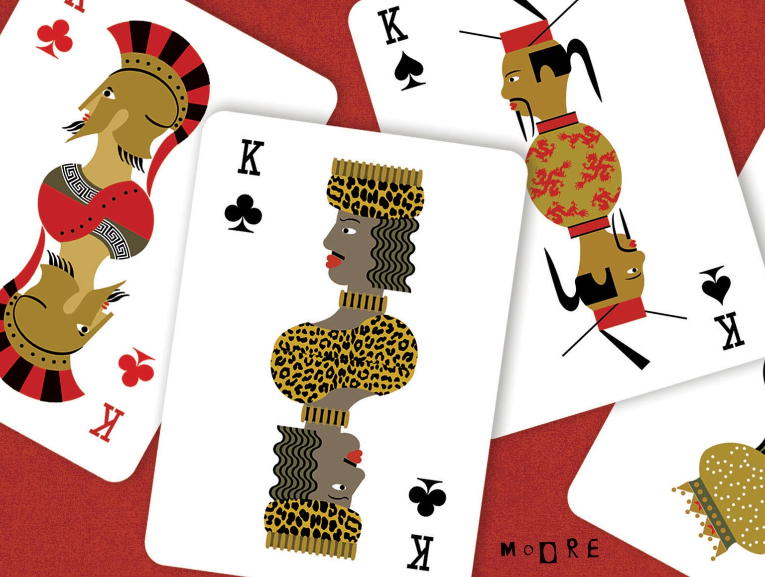 Illustration of playing cards with different nationalities represented as kings or queens