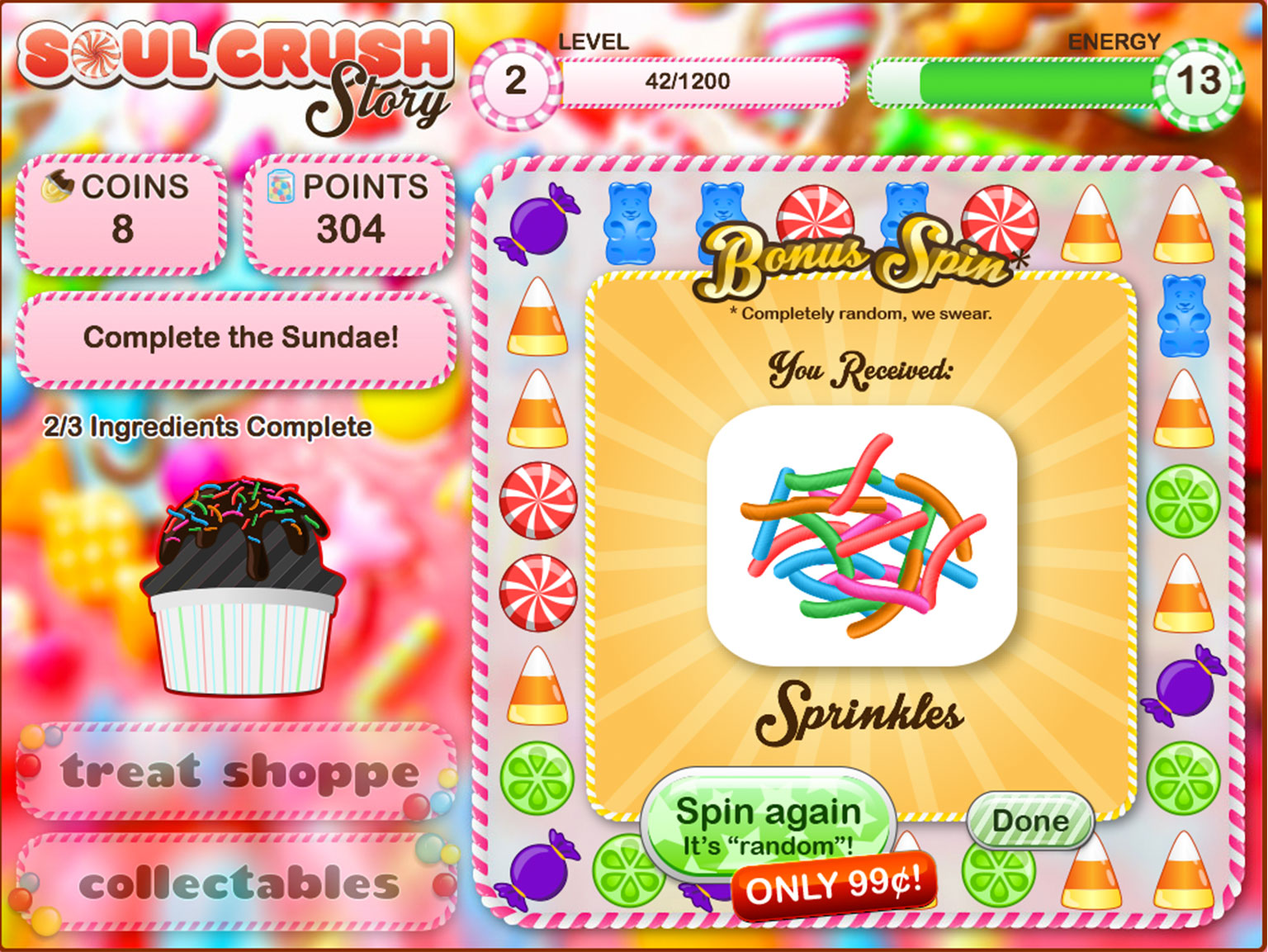 "Screen from online gambling game parody Soul Crush Story with brightly coloured candy and messages including 'Spin again. It's ""random""! Only 99c!"
