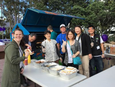 Volunteers and staff give out free sausages on New Zealand Gamblefree Day 2015. Photo: Problem Gambling Foundation of New Zealand