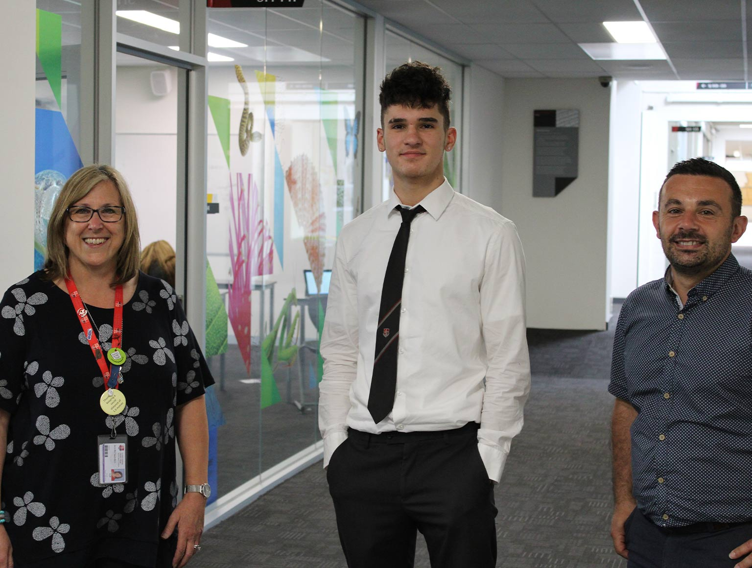 From left, Jennifer Saunders, Noah Grech and Ray Mizzi, VCAL coordinator; Photo by Richard Liistro