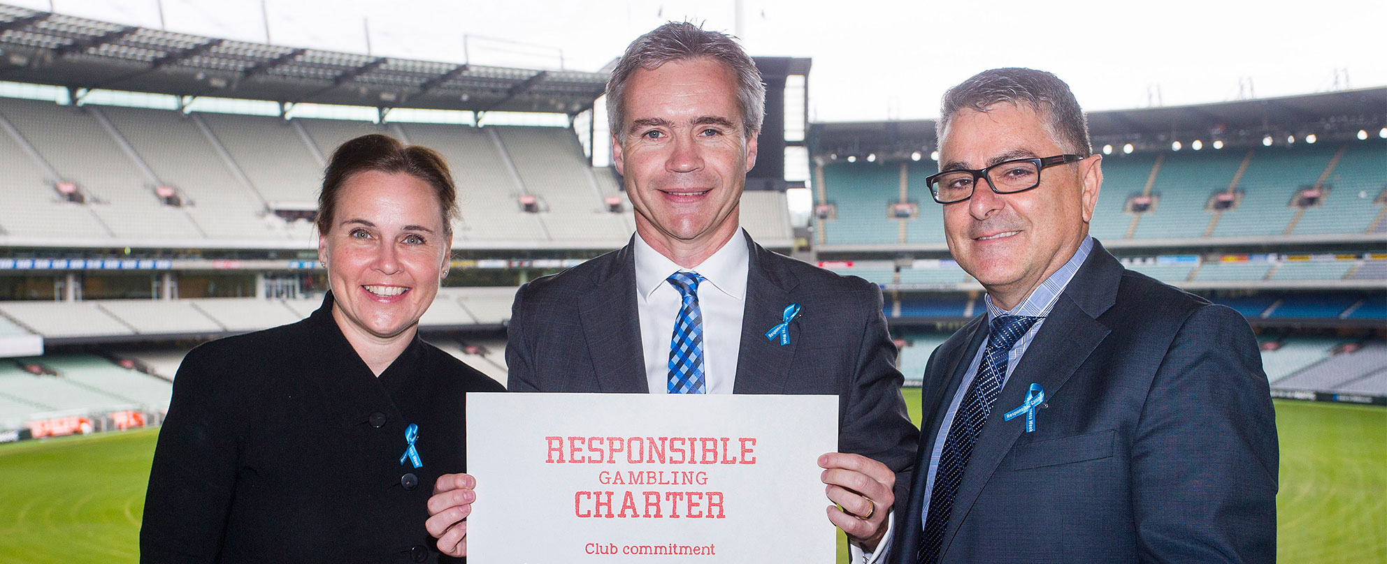 L to R: Minister for Consumer Affairs, Gaming and Liquor Regulation Jane Garrett, North Melbourne Football Club chief executive Carl Dilena, Victorian Responsible Gambling Foundation chief executive Serge Sardo, photo: Paul Jeffers