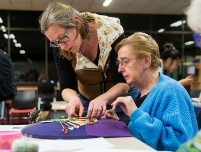 Learning how to make lace at a Libraries After Dark craft circle at Preston Library, photo: Paul Jeffers