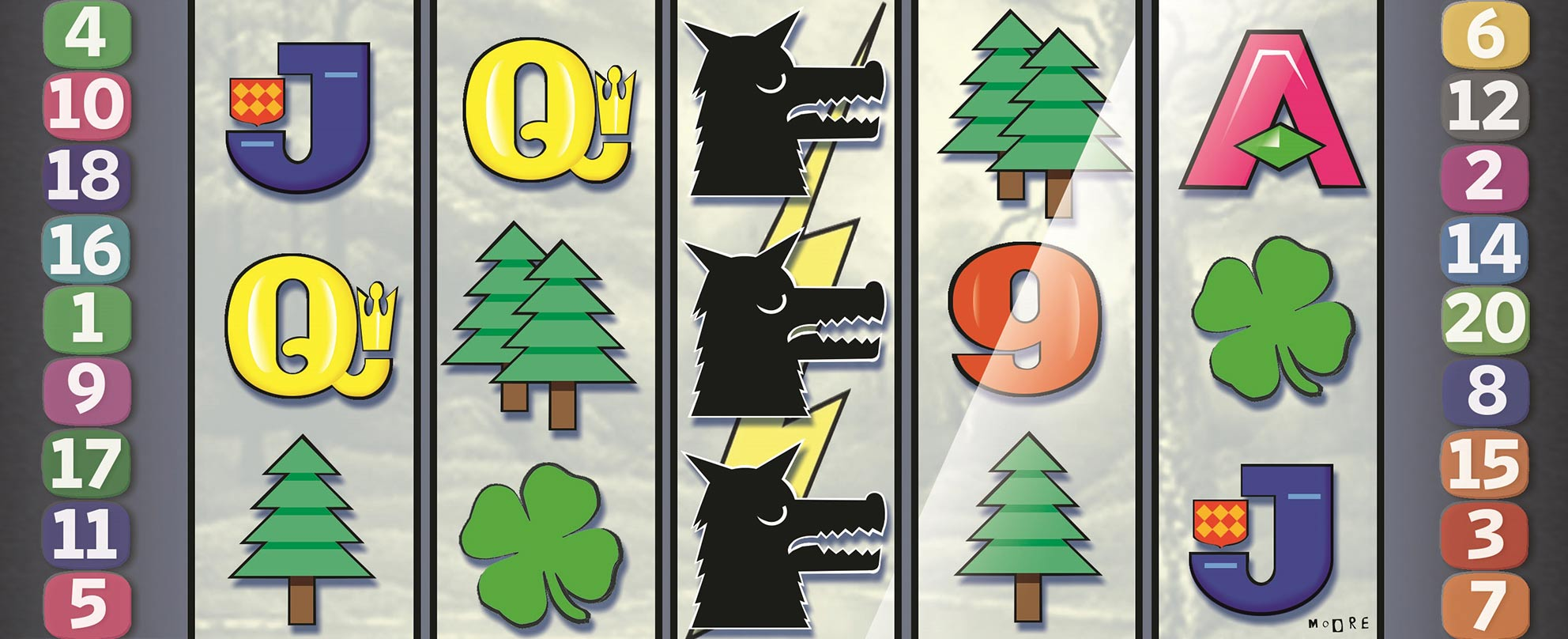 Illustration showing poker machine symbols – trees, four-leafed clovers, Q, J, 9 – and three black dog symbols, lining up in a column.