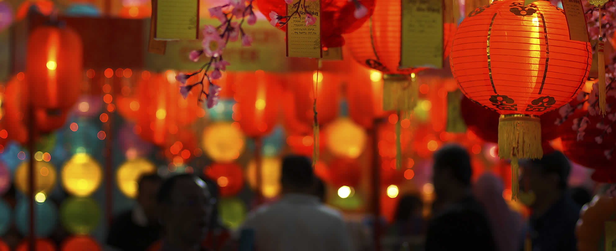 Chinese New Year celebrations with people walking underneath  laterns, flower blossoms, coloured lights and good luck notes.